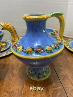 38pc Vtg Della Robbia Blue Majolica Coffee Set 12 Italie Poterie Rustique Artisanale