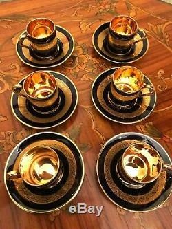 6 Coupes 6 Soucoupes Vintage Français Limoges France Porcelaine Plaqué Or Set Café