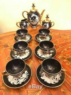 6 Tasses Vintage 6 Soucoupe Pot À Lait Italien Main En Céramique Noire Set Café