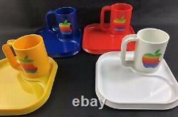 80's Apple Computer Rainbow Set Coffee Cup Mug Macintosh Logo Vintage Rare