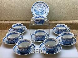 8 Ensembles Thé / Café Cups & Saucers Vtg Maçons Bleu Caille Transferware