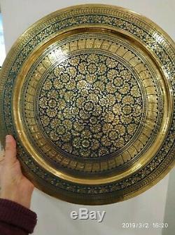 8 Pcs Vintage Laiton Cuivre Cuve Énorme Pot Dallah Plateau Grand Café Set Arabe Islamique