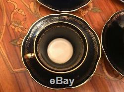 8 Tasses Vintage 8 Soucoupe Pot Lait Sucre Echt Cobalt Pologne Porcelaine Set Café