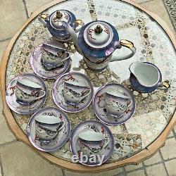 Ancien Jeu De Thé De Porcelaine Japonais Dragon Ware Lilac & Rouge Scrolls Bon