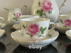 Ancien Set De Café Meissen Décoré De Roses Et De Bourgeons Éparpillés