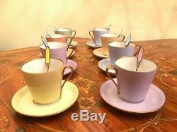 Antique Vintage 8 Tasses Et 8 Soucoupe 8 Cuillères À Thé En Porcelaine Set Café