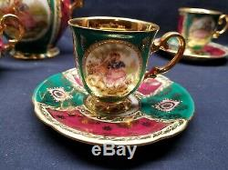 Antique Vintage Café Set Allemagne De L'ouest Fine China / Étrangères Bavière