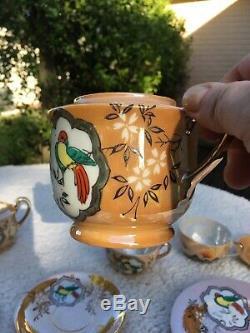Antique Vintage Peint À La Main Porcelaine Japonaise Thé Ou Café Set
