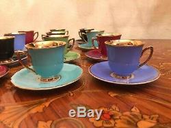 Antique Vintage Tchécoslovaquie Rgk 12 Coupes Et 12 Soucoupe En Porcelaine Set Café