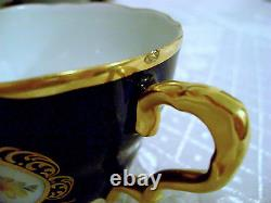 Antique Vtg Bavière Allemande Lindner Kueps HP Porcelaine Cobalt Blue Tea Coffee Set