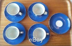 Arabia Finland Vtg Set 4 Tasses Et Soucoupes À Café Bleu Et Blanc Soucoupe Extra