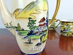 Art Déco Vintage Noritake Plateau Set Japon Peint À La Main Oriental Fine China