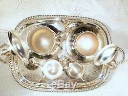 Assiette À Café Vintage Silver Plate Tea Avec Plateau Et Sacs À Poussière Poole Silver Co