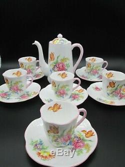 Belle Cafetière Vintage Shelley Dainty, Cafetière & 6 Tasses & Soucoupes