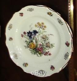 Belle Ensemble De Café Vintage 22 Carats Doré Alpine Flowers 21 Pièces Bavaria