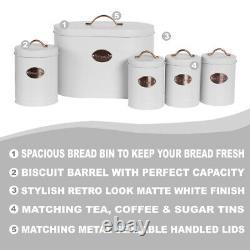 Boîte À Pain Ovale 5pc Set Avec Biscuit, Thé, Café, Canettes De Sucre Vintage Blanc