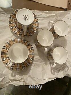Burberry London Vintage Édition Spéciale Tea/cafee Cups Set Nwt Made In England