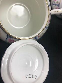 Coalport Trellis Rose Thé / Café Set Tasses Soucoupes Crème Sucre Pot Vtg 10i