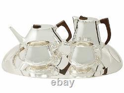 En Argent Sterling Four Piece Thé Et Café Set Avec Plateau, Style Design, Vintage