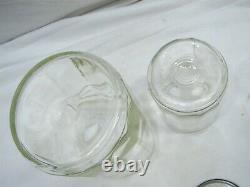 Ensemble 5 Vintage Glass Hoosier Type Jars Shaker Panel Coffee Tea Salt/pepper Spice