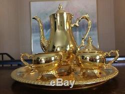 Ensemble À Café À Thé Vintage Or 24 Kt, International Silver Company Wm Rogers
