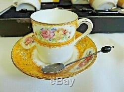 Ensemble À Café Vintage Rockingham Jaune Paragon En Porcelaine Avec 6 Cuillères En Argent Rare