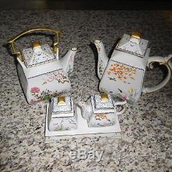 Ensemble À Thé Et À Café En Porcelaine Fine Franklin Mint Vintage Avec Sucre Et Crème