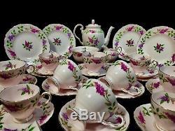 Ensemble À Thé Et À Café Vintage De L'après-midi En Toscane / Chine Os / Lilas, Époque Florale