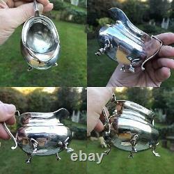 Ensemble Antique Ou Vintage De 4 Taquineries En Argent Massif Teapot Jug Bowl Coffee No Scrap