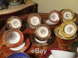 Ensemble De 12 Tasses À 12 Soucoupes Rare Service À Café En Porcelaine Vintage Bavière, Allemagne