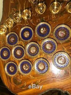 Ensemble De 12 Tasses Et 12 Soucoupes Rare Service À Café Vintage En Porcelaine Royale D'epiag D'allemagne