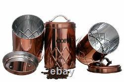 Ensemble De 3 Pots De Stockage De Cuivre Thé Café Sucre Conteneur LID Air Tight