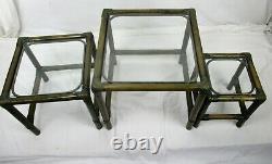 Ensemble De 3 Tables D'appoint Pour Café Nesting Vintage Faux Bamboo Rattan Lounge
