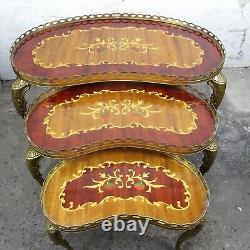 Ensemble De 3 Tables Latérales De Nidification Vintage Laiton Marquetry Kidney Shape Htf