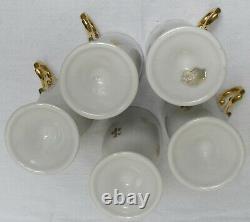Ensemble De 5 Vintage Royal Sealy Footed Fleur De Lys Coffee Cups/saucersrare