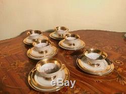 Ensemble De 6 Assiettes À Gâteaux, 6 Tasses Et 6 Assiettes Rare Service À Café En Porcelaine Vintage Wjs Copenhagen Vintage