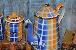 Ensemble De 6 Pots À Café En Émail Contenant Des Pots De Carreaux En Émail De France