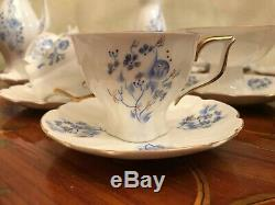 Ensemble De Café À 6 Soucoupes En Porcelaine Peint À La Main, Vintage Jiesia, Rare