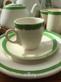 Ensemble De Café À Thé Meakin Vintage Avec Bande Dorée Et Pois Verts 36 Pièces