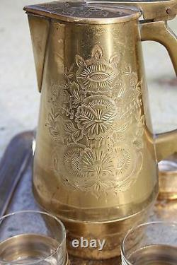 Ensemble De Café De Thé En Laiton Gravé Vintage Avec Plateau 4 Tasses Et Bouteille Thermos #549