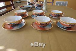 Ensemble De Café Et Thé Vintage De 14 Pièces Maison Sur Le Lac Avec Bleu Orange Swan Fabriqué Au Japon