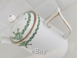 Ensemble De Café Vintage De Chine, Style Toscan À Ruban, Tasses Vertes Art Deco Demitasse, 17 Pces