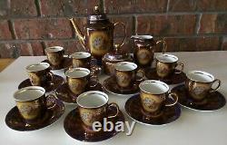Ensemble De Café Vintage M Z Tchécoslovaquie. 10 Tasse. Richement Décoré Avec De L'or