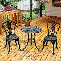 Ensemble De Meubles De Jardin En Aluminium Moulé 2 Sièges Chaises De Table De Café Vintage Patio