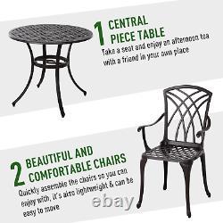 Ensemble De Meubles De Jardin En Aluminium Moulé 4 Sièges Chaises De Table De Café Vintage Patio
