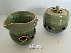Ensemble De Thé / Café Japonais Vintage Soma Yaki De 21 Pièces, À Double Paroi, Japon