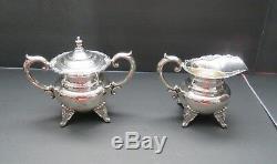Ensemble De Thé Et Café Sterling-silver-vintage-4-pc- Roses -950 Sterling 72 Ozt