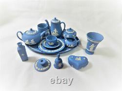 Ensemble Miniature De Café De Thé Plus Extras Wedgwood Blue Jasper Vintage