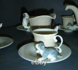 Exceptionnel Vintage 14 Pièces À La Retraite Lladro Set Café Thème Chiens Puppy Rare