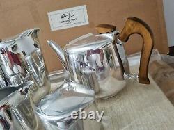 Fabulous Vintage Picquot Ware 5 Pièces Tea Coffee Set Avec Plateau Dans La Boîte D'origine